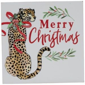 Merry Christmas Leopard Wood Wall Decor NWT